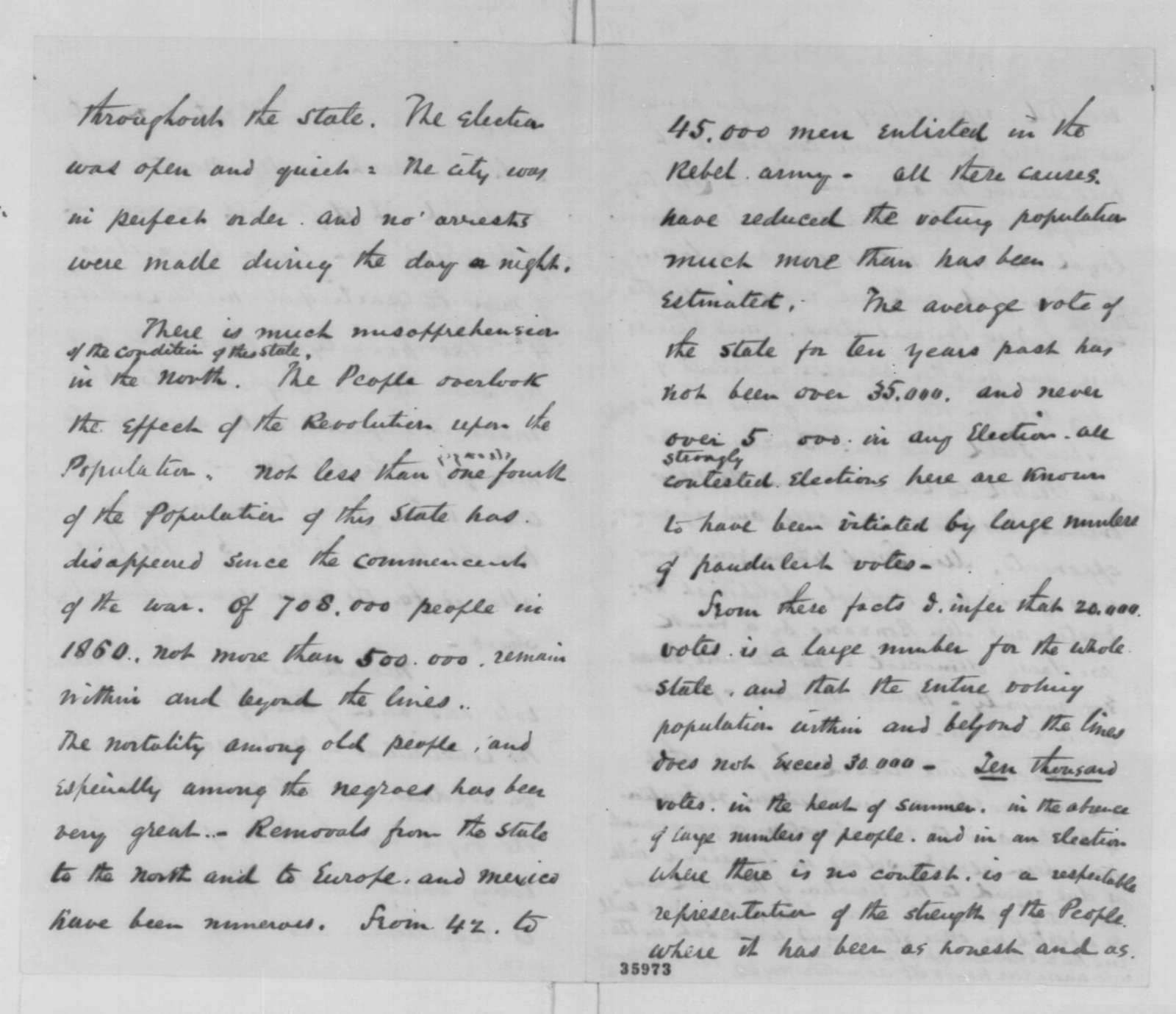 Nathaniel P. Banks to Abraham Lincoln, Tuesday, September 06, 1864  (Ratification of Louisiana constitution)
