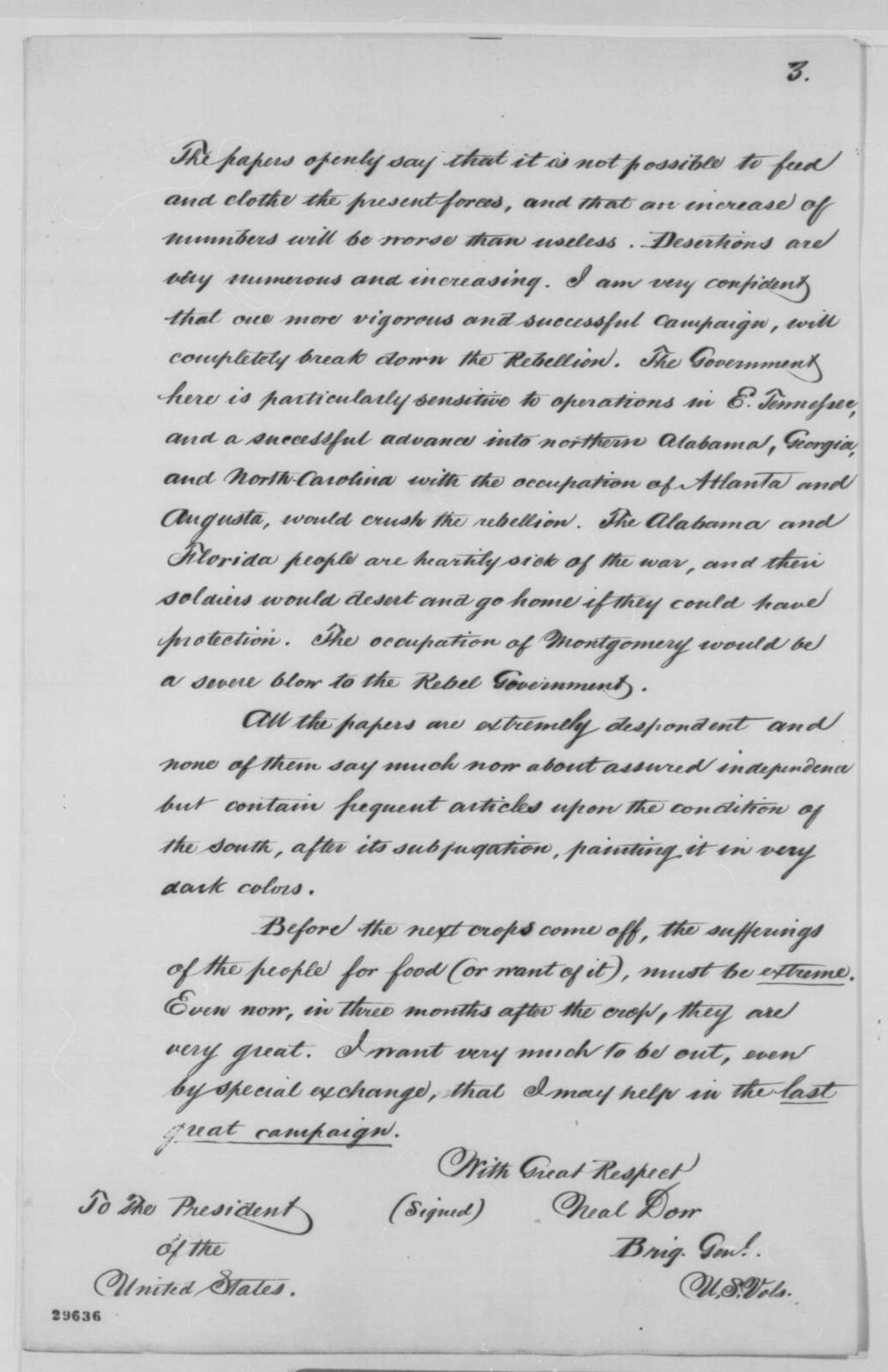 Neal Dow to Abraham Lincoln, Wednesday, January 20, 1864  (Conditions at prison camp in Richmond)