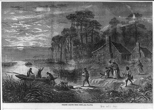 Negroes leaving their home [by boat; Civil War]