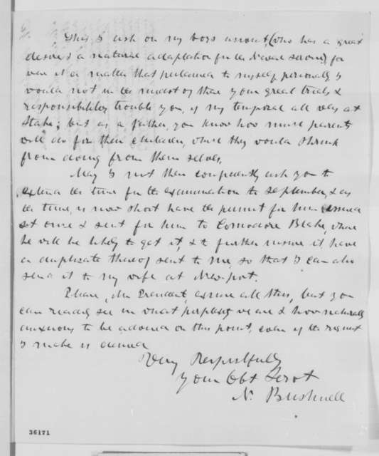 Nehemiah Bushnell to Abraham Lincoln, Sunday, September 11, 1864  (Appointment to Naval Academy for Robert H. Bushnell)
