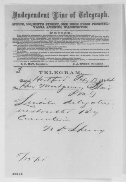 Nehemiah D. Sperry to Montgomery Blair, Wednesday, February 17, 1864  (Telegram reporting support for Lincoln in Connecticut)