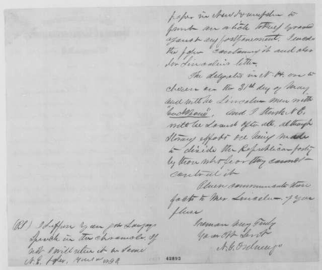 Nehemiah G. Ordway to John G. Nicolay, Saturday, May 07, 1864  (Political affairs)