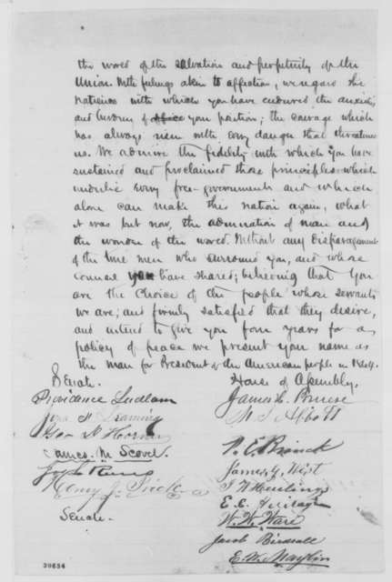 New Jersey Legislature Union Members to Abraham Lincoln, Thursday, February 18, 1864  (Support; endorsed by James M. Scovel, Feb. 19, 1864)
