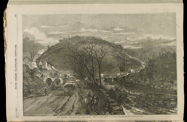 New military road near the Chain Bridge, Virginia / From a sketch by our Special Artist with the Grand Army of the Potomac.