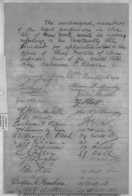 New York City Attorneys to Abraham Lincoln, [November 1864]  (Petition recommending Chase for Chief Justice)