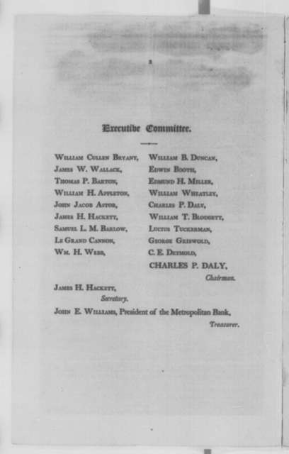 New York City Shakespeare Monument, Friday, July 01, 1864  (Pamphlet; inscribed by James H. Hackett)