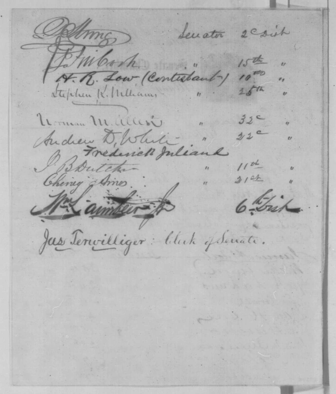 New York Union Senators to Abraham Lincoln, Tuesday, January 12, 1864  (Petition recommending appointment of Abram Wakeman to replace Hiram Barney)