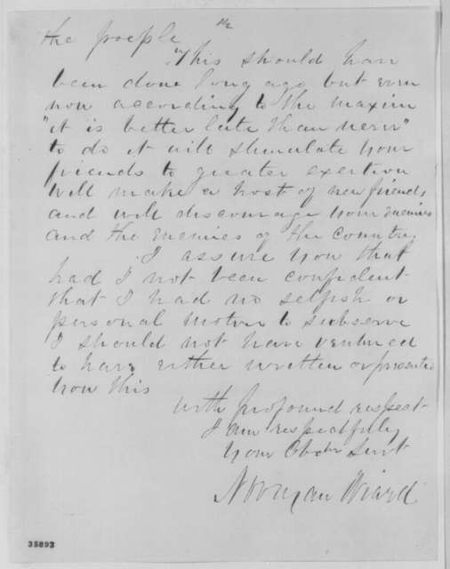 Norman Wiard to Abraham Lincoln, Saturday, September 03, 1864  (Political and military advice)