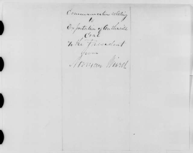 Norman Wiard to Abraham Lincoln, Saturday, September 03, 1864  (Recommends exportation of coal)
