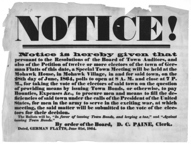Notice! Notice is hereby given that persuant to the resolutions of the board of town auditors, and also of the petition of twelve or more electors of the town of German Flatts of this date, a special town meeting will be held at the Mohawk House
