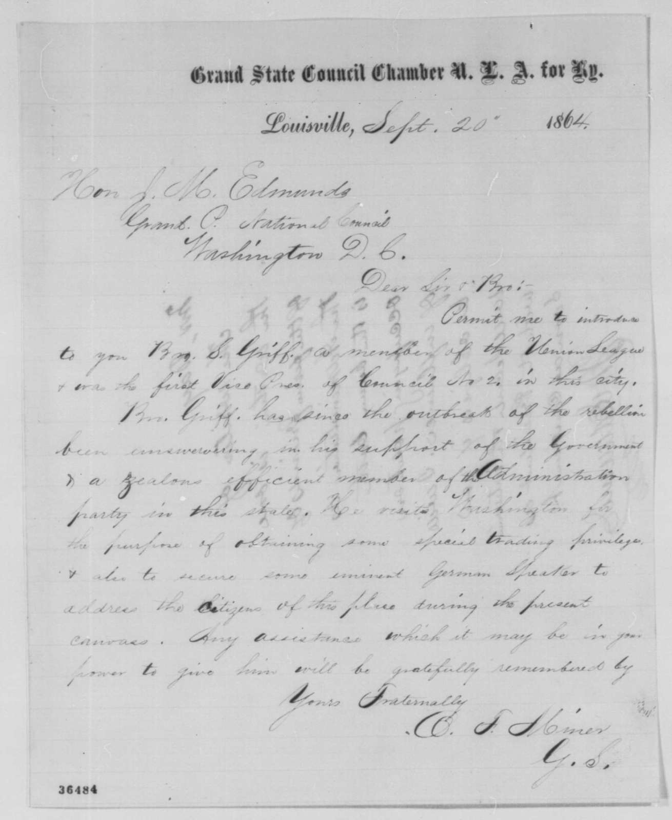 O. F. Miner to James M. Edmunds, Tuesday, September 20, 1864  (Introduction; endorsed by Edmunds)