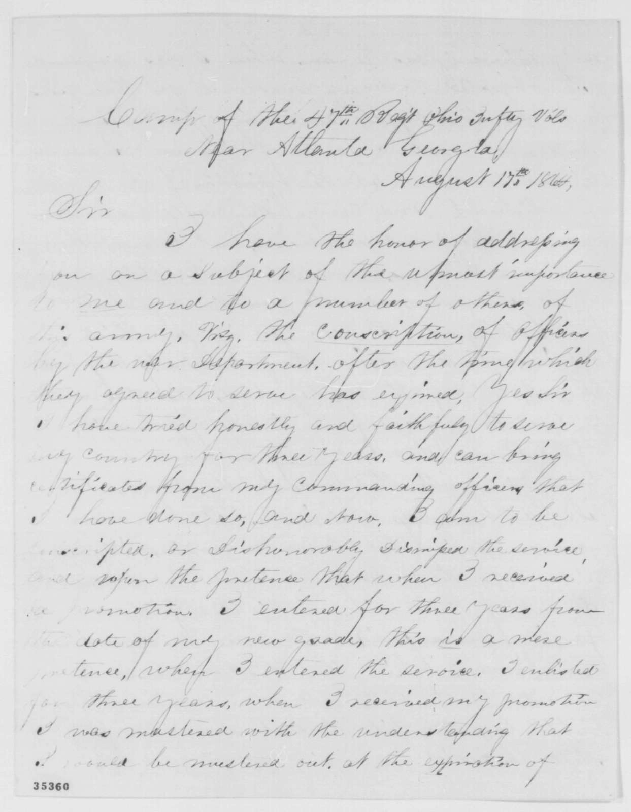 O. G. Sherwin to Abraham Lincoln, Wednesday, August 17, 1864  (Military affairs)
