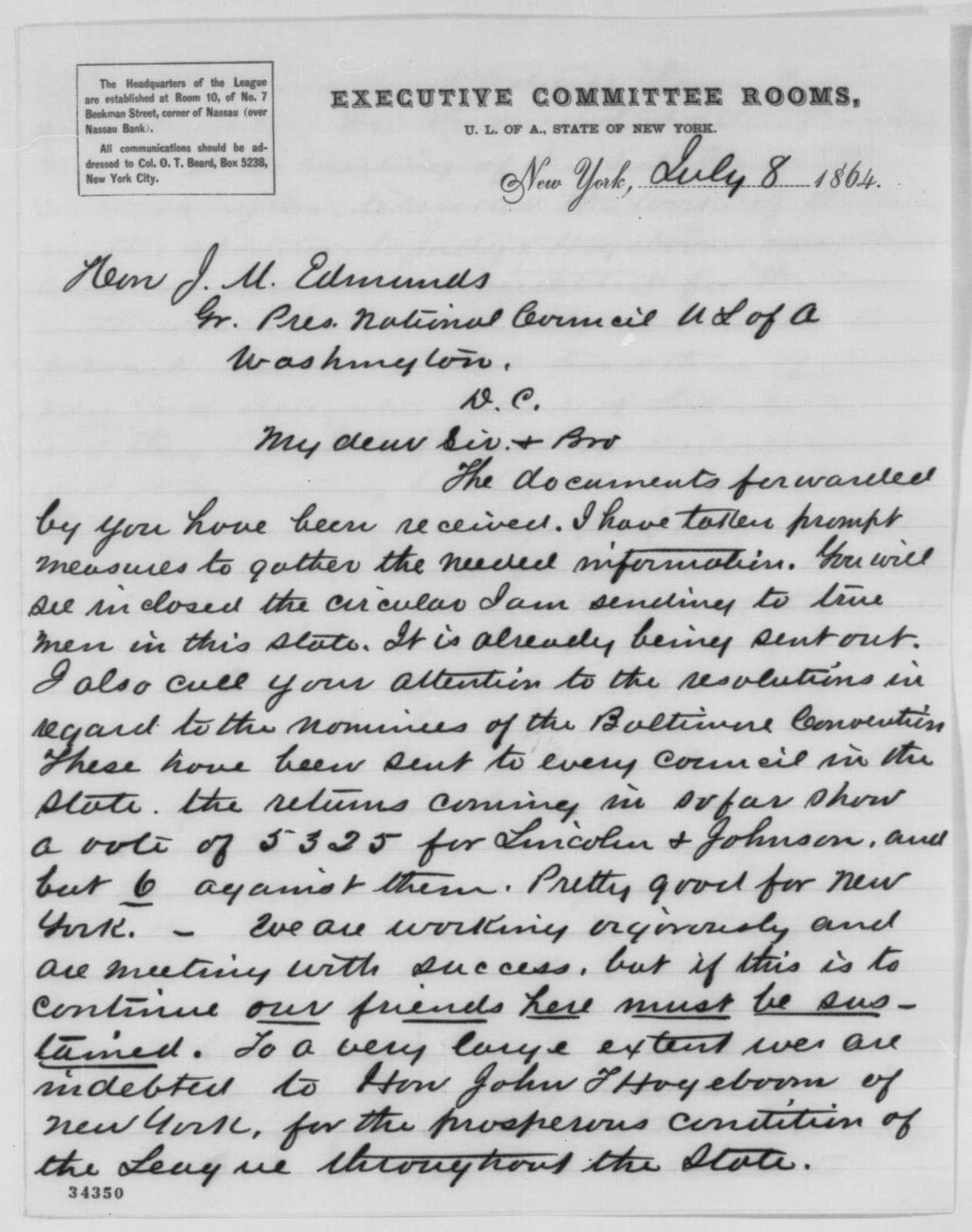 Oliver F. Beard to James M. Edmunds, Friday, July 08, 1864  (Political affairs)