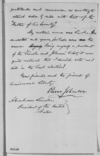 Oliver Johnson to Abraham Lincoln, Wednesday, December 07, 1864  (Approves of Chase's appointment as Chief Justice)