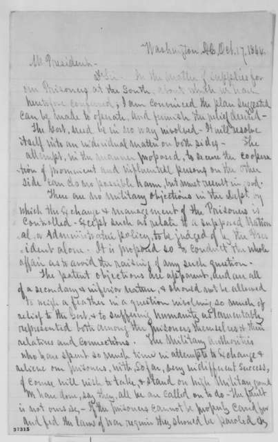 Oliver S. Halsted Jr. to Abraham Lincoln, Monday, October 17, 1864  (Provisions for Union prisoners of war)