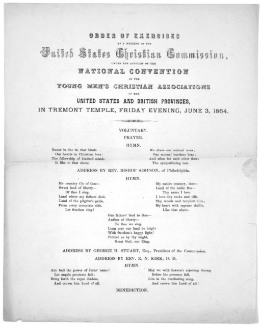 Order of exercises at a meeting of the United States Christian Commission, under the auspices of the national convention of the Young men's Christian associations of the United States and British provinces, in Tremont Temple, Friday evening, Jun