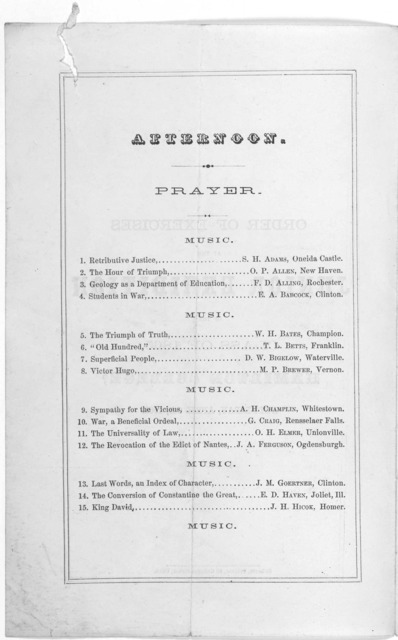 Order of exercises at the Junior exhibition of the class of 1865, Hamilton College, Wednesday, April 6th, 1864. Utica. Roberts, printer [1864].