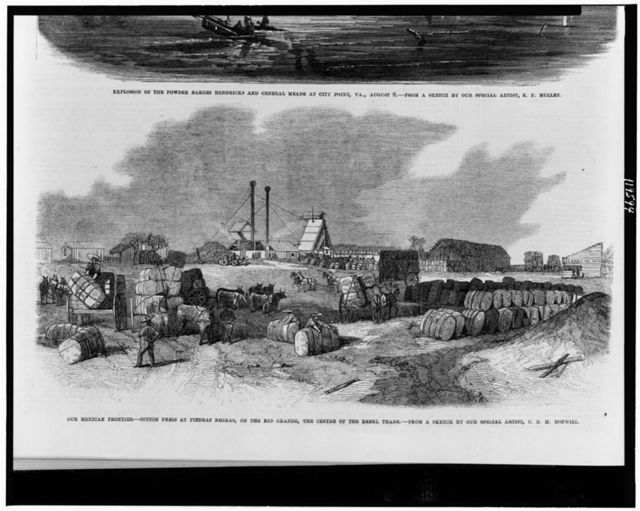 Our Mexican frontier - cotton press at Piedras Negras, on the Rio Grande, the centre of the rebel trade / from a sketch by our special artist, C.E. Bonwill.