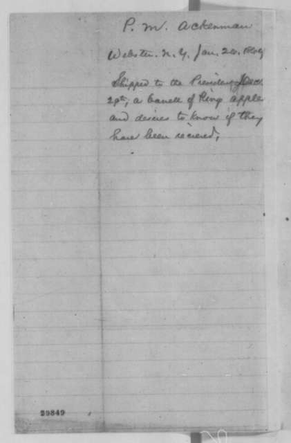 P. M. Ackerman to Abraham Lincoln, Tuesday, January 26, 1864  (Wants to know if Lincoln received the apples he sent)