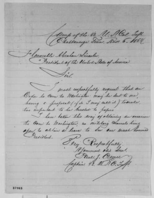 Paul J. Cremer to Abraham Lincoln, Sunday, November 06, 1864  (Requests permission to visit Washington)