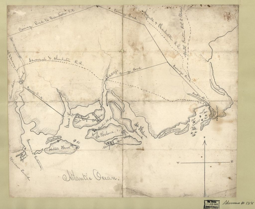 Pencil sketch of the Atlantic Coast from Charleston, South