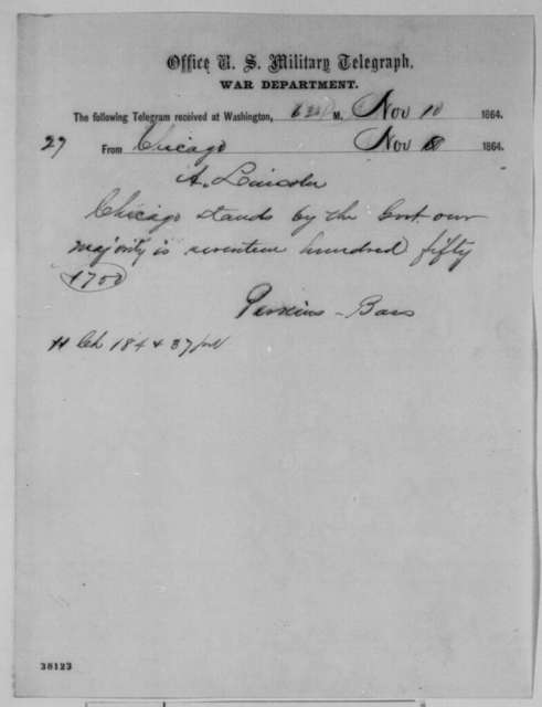 Perkins Bass to Abraham Lincoln, Tuesday, November 08, 1864  (Telegram reporting Illinois election results)