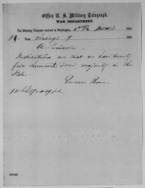 Perkins Bass to Abraham Lincoln, Wednesday, November 09, 1864  (Telegram reporting Illinois election results)