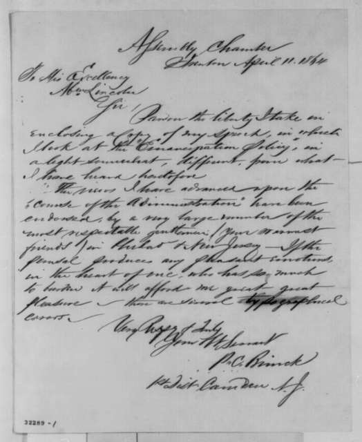 Peter C. Brinck to Abraham Lincoln, Monday, April 11, 1864  (Sends speech)