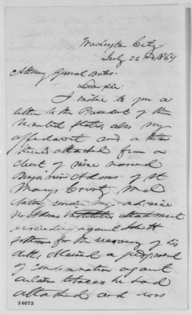 Peter W. Crain to Edward Bates, Friday, July 22, 1864  (Legal case)