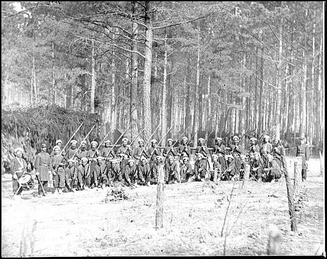 Petersburg, Va. Company F, 114th Pennsylvania Infantry (Zouaves) with fixed bayonets
