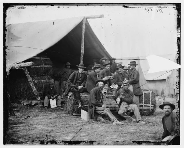 [Petersburg, Va. Group of the quartermaster department, 1st Division, 9th Corps, at leisure]