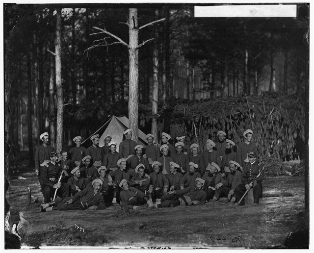 Petersburg, Virginia. Company F, 114th Pennsylvania Infantry Capt. J.R. Waterhouse on left. Lt. A.N. Gevin on right