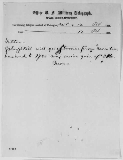 Philadelphia Associated Press to Charles C. Fulton, Wednesday, October 12, 1864  (Telegram reporting Penn. election results)