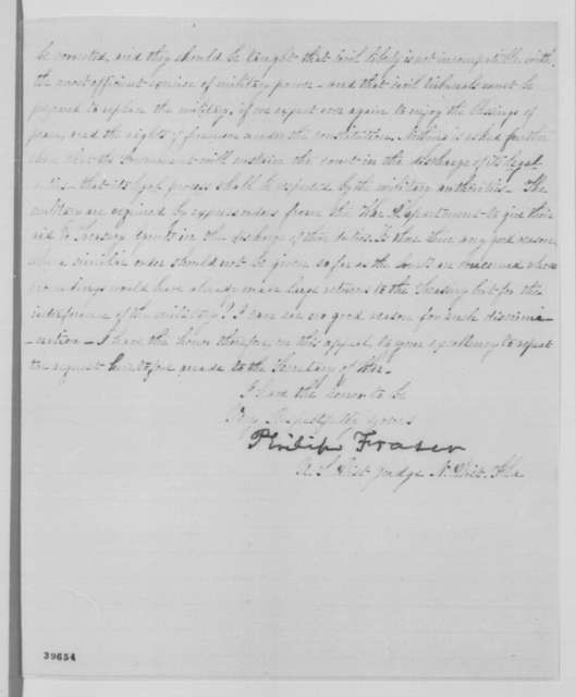 Philip Fraser to Abraham Lincoln, Saturday, December 31, 1864  (Reconstruction in Florida)