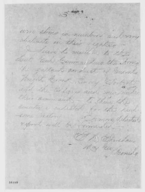 Phillip H. Sheridan to Ulysses S. Grant, Monday, September 19, 1864  (Telegram reporting victory over Jubal Early)