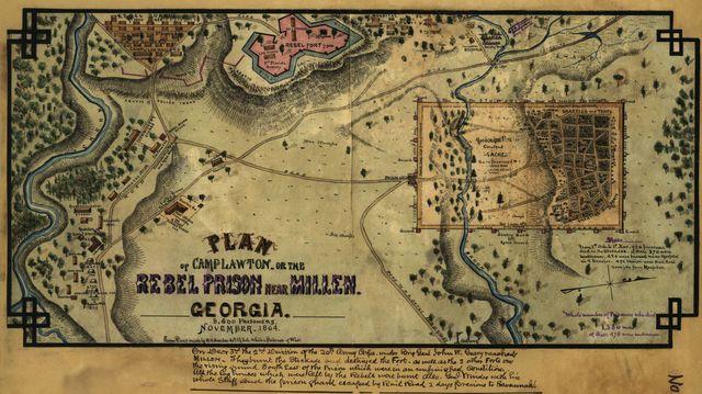 Plan of Camp Lawton, or the rebel prison near Millen, Georgia ... November 1864.