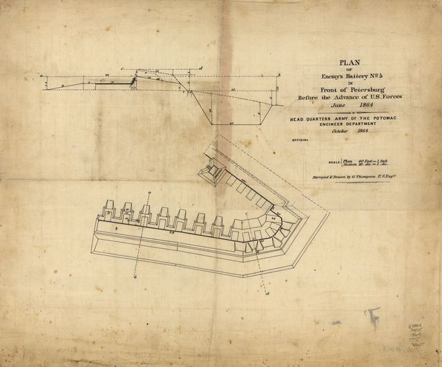 Plan of enemy's battery no. 5 in front of Petersburg before the advance of U.S. Forces, June 1864 /