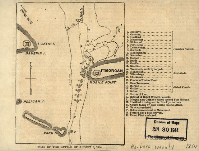 Plan of the battle of August 5, 1864. [Mobile Bay]