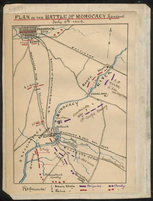 Plan of the Battle of Monocacy, Maryland, July 9th, 1864.