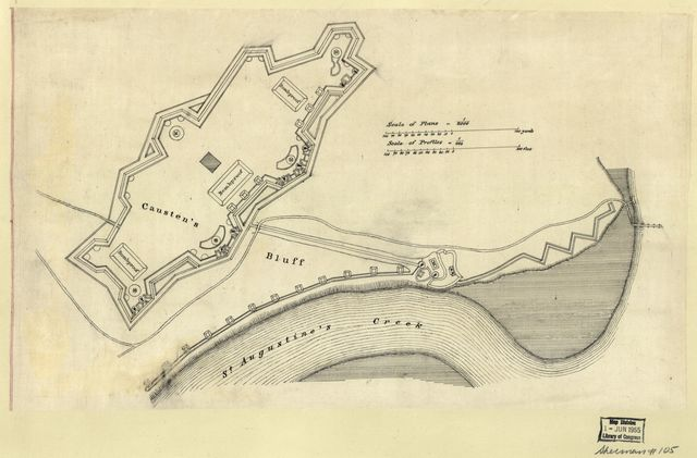 [Plan of the fortifications on Causten's Bluff, Georgia].