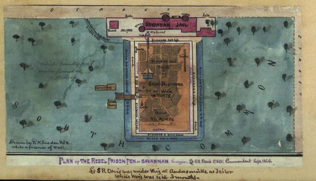 Plan of the Rebel prison pen at Savannah Georgia, Lt. S. R. Davis, C.S.A., Commandant, Sept. 1864.