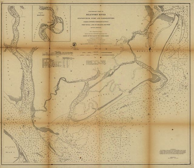 Preliminary chart of Beaufort River, Station Creek, Story and Harbor Rivers forming inside passage between Port Royal and St. Helena Sounds, South Carolina