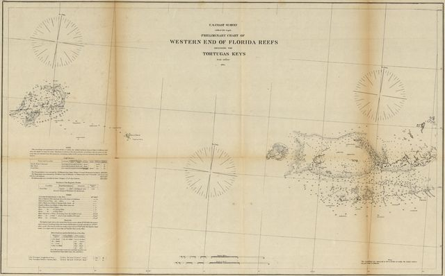 Preliminary chart of western end of Florida Reefs including Tortugas Keys.