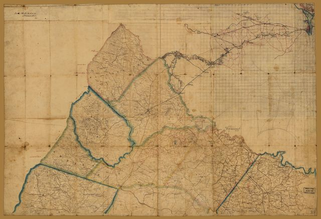 [Preliminary map of northeastern Virginia, south of the Rappahannock, east of the Blue Ridge, and north of 38⁰ N. Lat.].