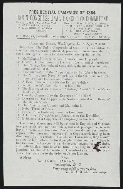 Presidential campaign of 1864. Union Congressional Executive Committee.