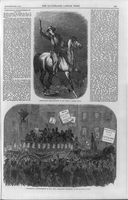Presidential electioneering in New York--a street scene ; Presidential electioneering in New York--torchlight procession of the M'Clellan party