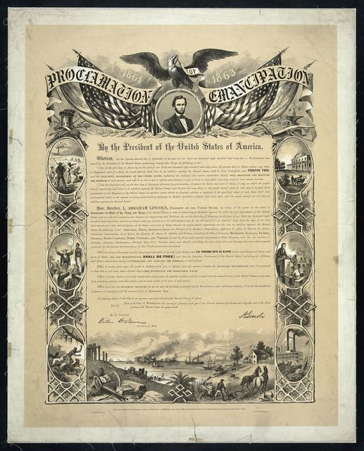 Proclamation of Emancipation by the President of the United States of America / W. Roberts del., C.A. Alvord, printer.