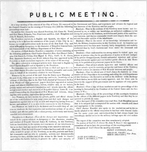 Public meeting. At a large meeting of the citizens of the city of Santa Fe' convened in the Council Chamber on the evening of February 21st, 1864 the following proceedings were held. [Santa Fe. 1864].