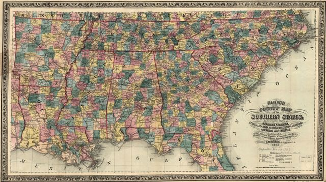 Railway and county map of the Southern States; embracing the States of N. Carolina, S. Carolina, Georgia, Alabama, Florida, Mississippi, Louisiana, Arkansas, and Tennessee exhibiting all the towns, villages, stations, & landings; the rivers, railways, common roads, canals throughout these states.