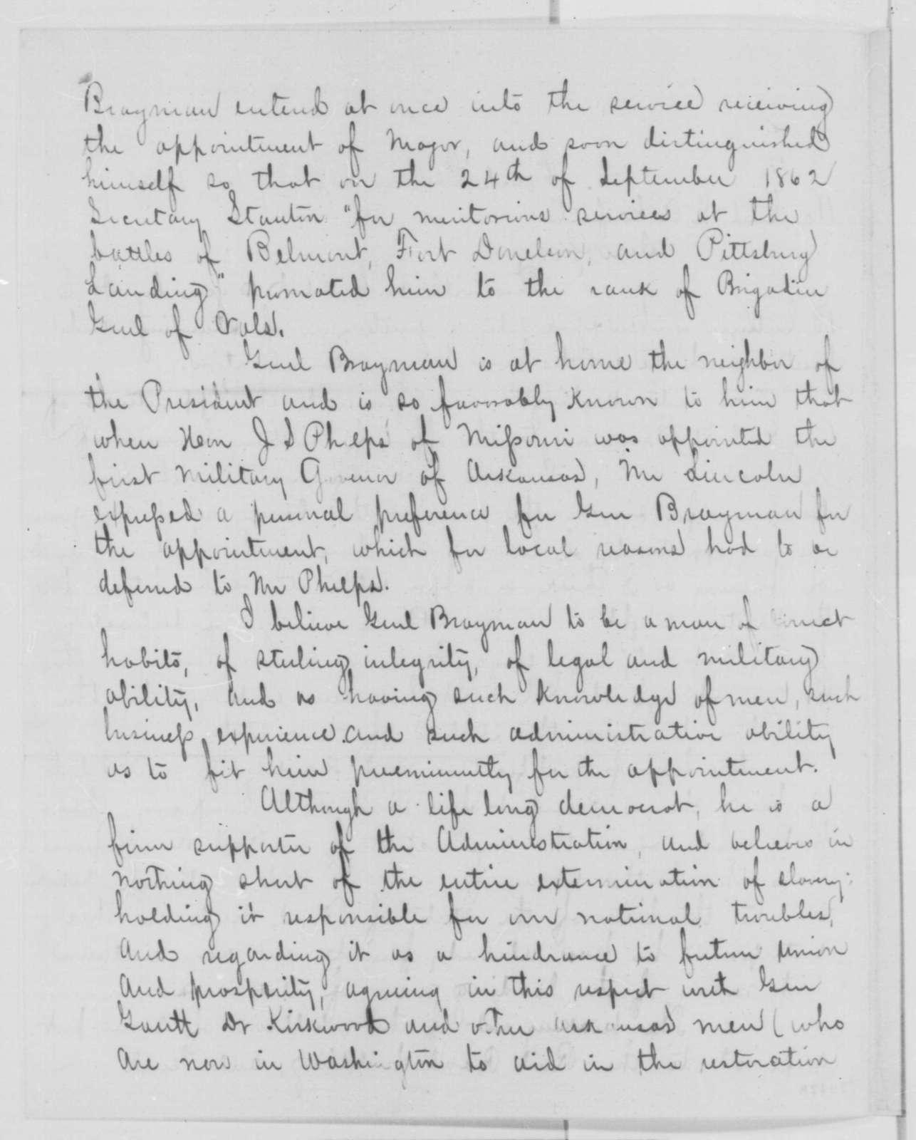 Ralph Plumb to James A. Garfield, Thursday, January 14, 1864  (Introduction)